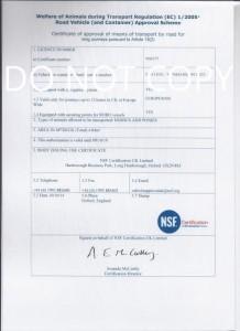 DEFRA Inspection Certificate for journeys over 8 hours