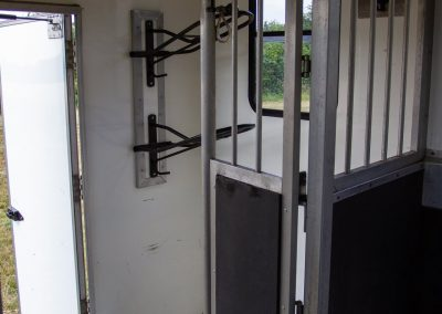 Horsebox interior saddle rack