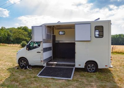Horsebox side view with partition open