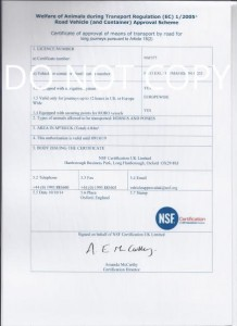 DEFRA Inspection Certificate for journeys over 8 hours
